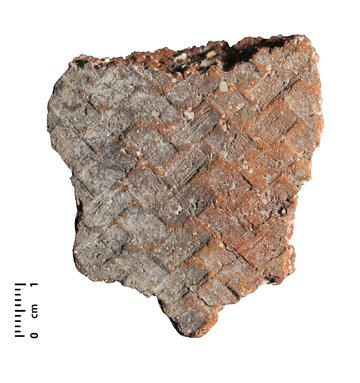 Ceramic fragment impressed with a palmetto mat